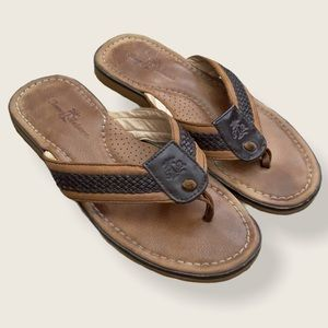 Tommy Bahama Anchored Leather Flip Flop Sandals